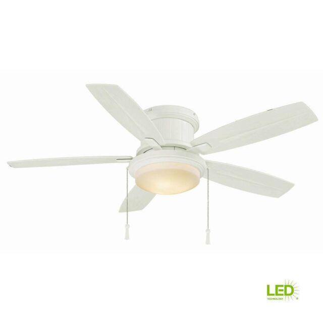 Hampton Bay Ceiling Fan Light Kit Led Indoor Outdoor Matte White Roanoke 48 In