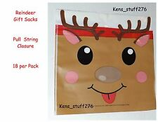 "Reindeer Treat Bags Office School Church Christmas Party Loot Sacs 6""x6"" 18 Bags"