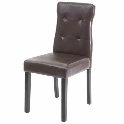 6x Esszimmerstuhl MCW-E58 dunkle Beine Stuhl Essstühle Kunstleder braun