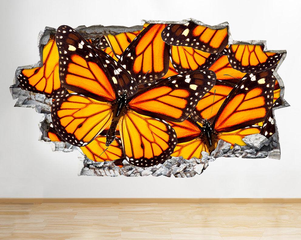 C665 Papillons insectes cool Salle Smashed Autocollant Chambre 3D Vinyle enfants