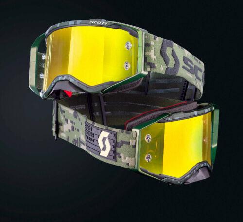 Scott Prospect MX Brille Khaki Camouflage Yellow chrome Works Special