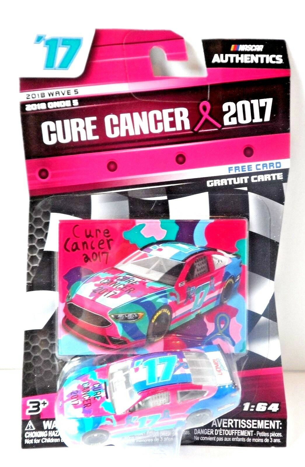 New 1 64 Nascar Authentics Wave 5 CURE CANCER 2017 Ford Fusion Trading Card Pink