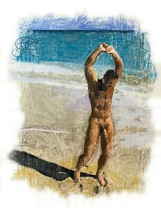 Male-Nude-Figure-Drawing-Pastel-on-Paper-Signed-Original-Mixed-Media-Gay-Queer