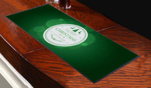 MERRY CHRISTMAS AND A HAPPY NEW YEAR CIRCLE GREEN BAR RUNNER IDEAL PARTYS /& PUBS
