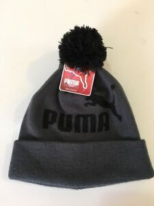 5209c89e49a23 Image is loading Puma-Pom-Beanie-And-Glove-Set-Gray-Black-