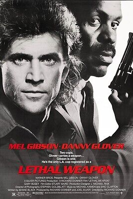 LETHAL WEAPON movie poster MEL GIBSON poster, DANNY GLOVER - 11 x 17 inches
