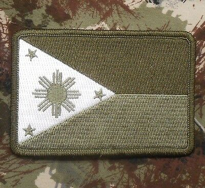 PHILIPPINES TACTICAL FLAG FILIPINO ARMY MORALE MULTICAM OD GREEN IRON ON PATCH