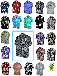 Hibiscus-Floral-Taro-Leaves-Tradition-Hawaiian-Aloha-Shirt-Made-in-Hawaii