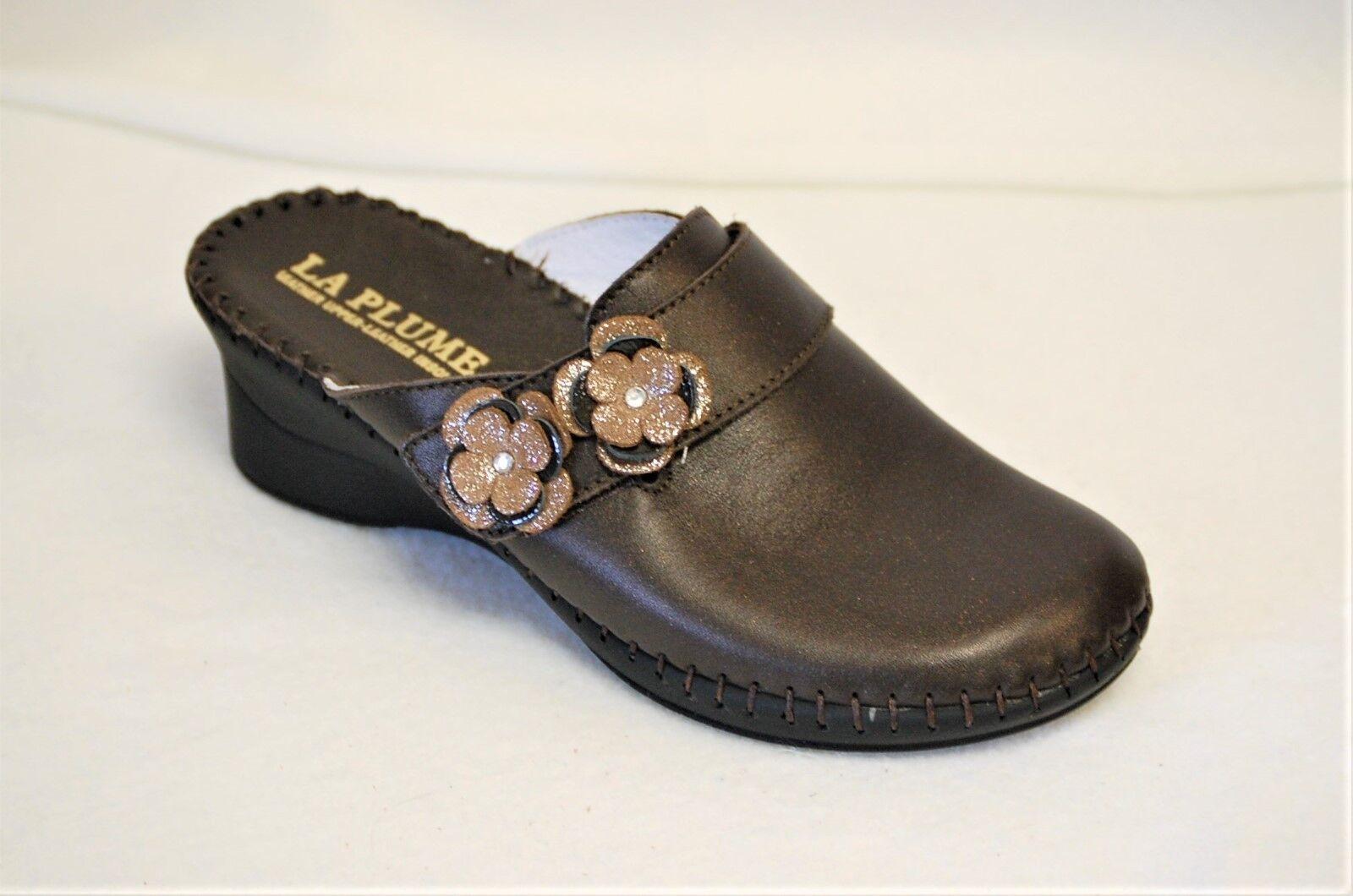 La Plume Beth Dark Brown leather Mule on 2 1/4 inch wedge Euro 38