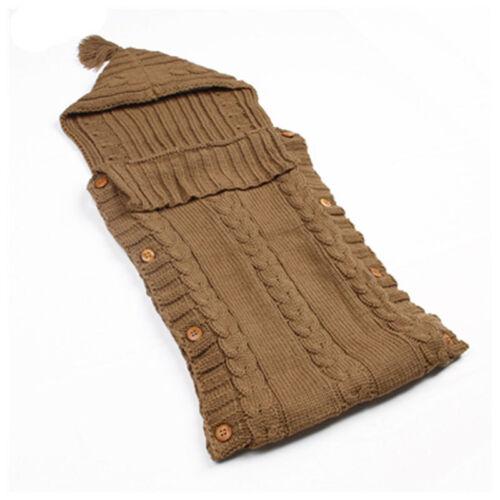 Newborn Baby Infanted Hooded Hoodie Swaddle Wrap Knit Blanket Sleeping Bag