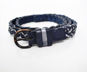 Comptoir des cotonniers Mujeres Cinturón De Cuero Trenzado Azul Plateado Tamaño Mediano