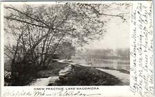 WAUKESHA COUNTY, WI Wisconsin  LAKE NAGOWICKA Crew Practice Rowers 1908 Postcard