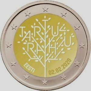 2 euros Estonie 2020 LE 100e anniversaire du traité de paix de TARTU NOUVEAU!!!
