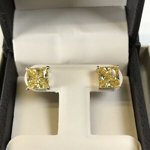6-Ct-Studs-Diamond-Earrings-Princess-Fancy-Canary-Yellow-Man-Made-14k-Solid-Gold