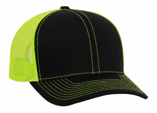 Neon Yellow Mesh Black Pacific Headwear Blank Trucker Mesh Hat