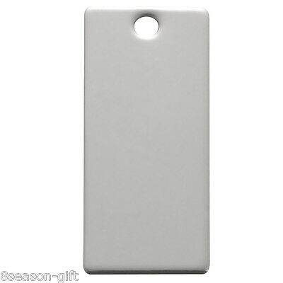 20 Silver Tone Stainless Steel Rectangle Blank Stamping Tags Pendants 25x9mm