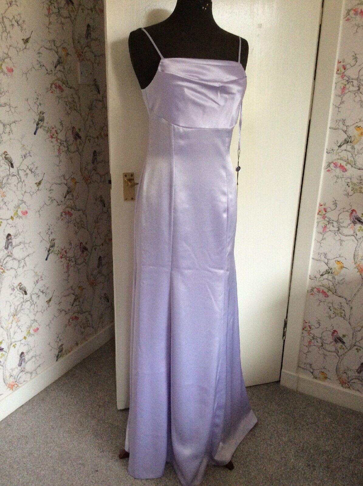 Lilac Long Evening Party Dress Shoe String Straps & Wrap 14 / 16