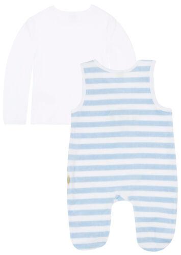 STEIFF® Jungen Nicky Strampler+Shirt Hellblau Ringel Nicki Bär 56 62 68 74 NEU!