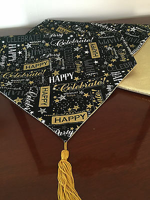 Happy New Years Eve Black Gold Metallic Cotton Table Runner By