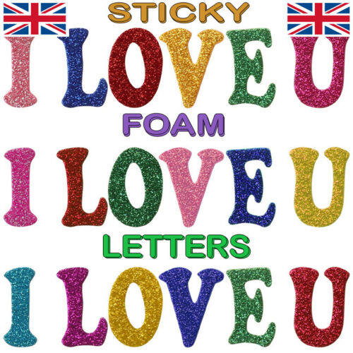 Gliter Foam Letter Stickers Alphabet Sparkle Upper and Lower Case Letters Craft