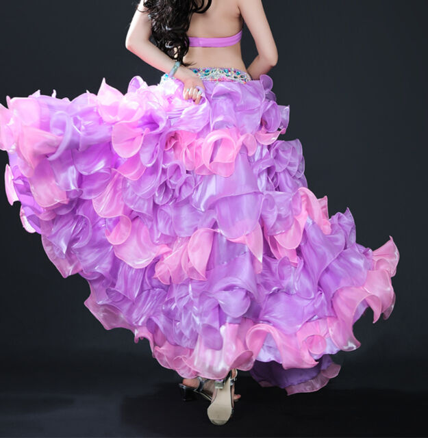 New Professional Belly Dance Costume Waves Skirt Dress with slit Skirt 3 Colors