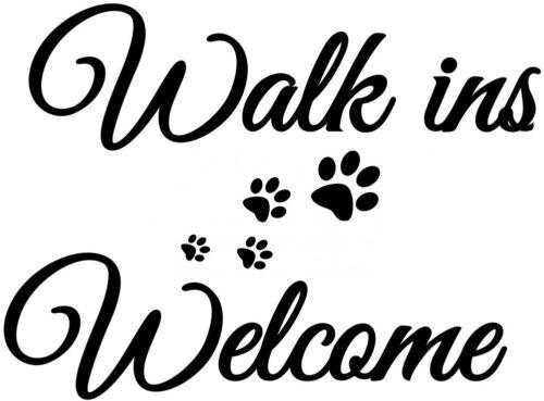 dog grooming salon paw prints walk ins welcome shop window sign wall sticker vet