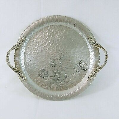 Rodney Kent Serving Tray Hand Wrought Creations 409 Aluminum Handled 14 Ebay