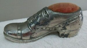 Early-Vintage-Antique-Silver-Toned-Men-039-s-Shoe-Pin-Cushion-Made-in-Japan