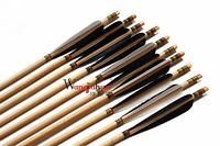 12pk Traditional Archery Handmade Cedar Wooden Arrows Field Tips 28-33''