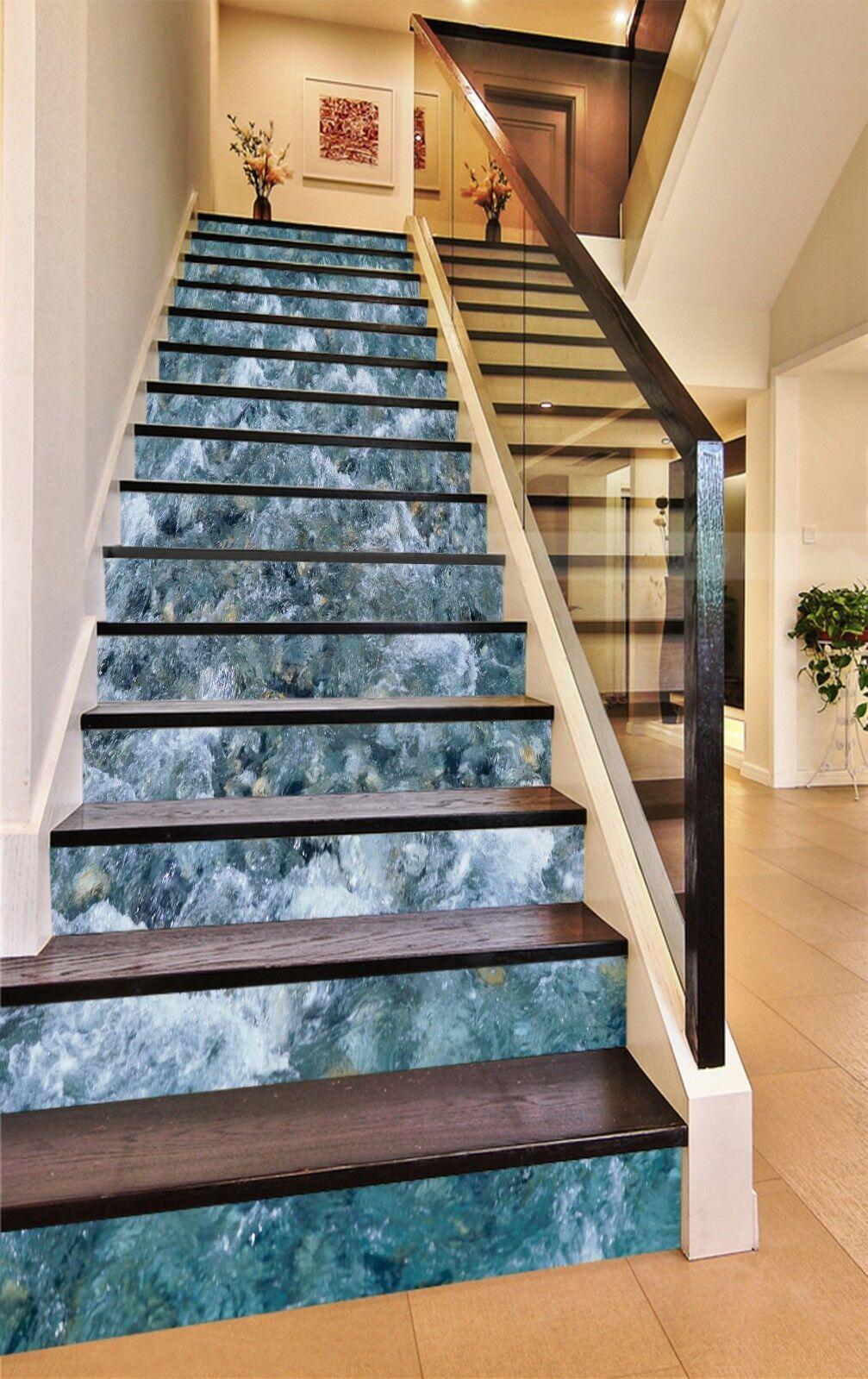 3D Blau water 7 Stair Risers Decoration Photo Mural Vinyl Decal WandPapier UK