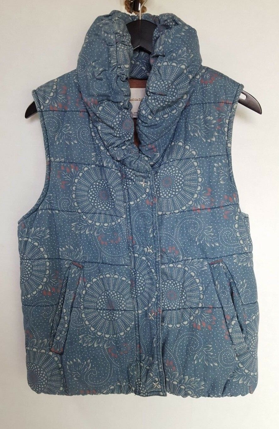 PILCRO AND THE THE THE LETTERPRESS WOMEN'S blueE FLORAL PUFF VEST MEDIUM 86fc66
