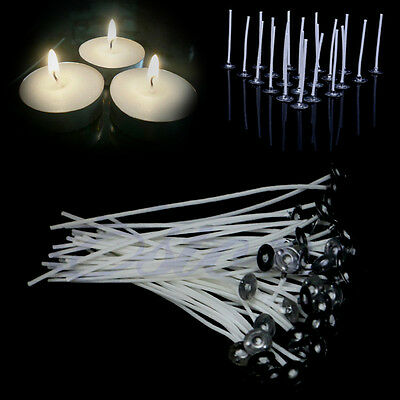 100Pc 6 Inch DIY Pre Waxed Candle Wick Core With Sustainers Cotton Coreless 15CM