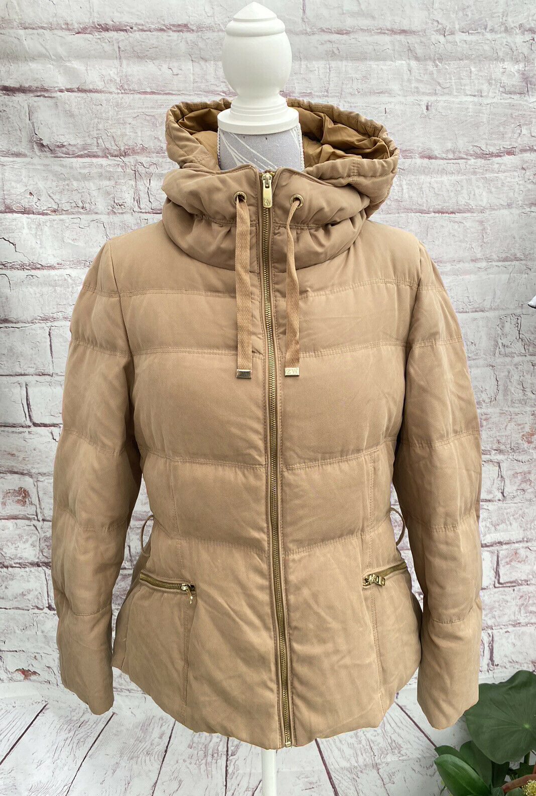 • ZARA • Duck Down Hooded Puffer Quilted Jacket Coat Size: XL