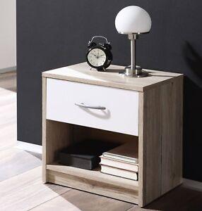 Dettagli su Comodino moderno con cassetto e scomparto aperto camera da  letto Bianco/Rovere