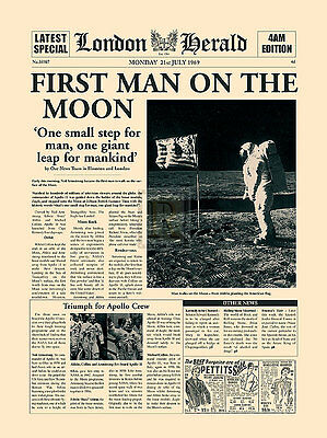 First Man On The Moon reimagined newspaper front page PRINT SIZE:40cm x 30cm