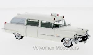 Wonderful NEO-modelcar CADILLAC MILLER AMBULANCE 1956 - 1 43 - white - lim.ed.