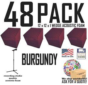 Acoustic Foam 48 pack BURGUNDY Wedge Studio Soundproofing Tiles 12x12x1 inch