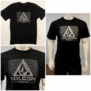 New-Volcom-Mens-Summer-Beach-Surfing-Sport-Gym-Short-Sleeve-Black-T-Shirt-Tee