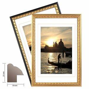 Cadre-bois-034-Palermo-034-noir-et-or-de-bord-orne