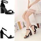Women's High Heels Block Shoes Pumps Casual Buckle Chunky Evening Party Sandals
