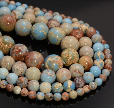 "Natural Blue Red Sea Sediment Jasper Gemstone Round Loose Beads 15/"" 4 mm 6 mm 8 mm"