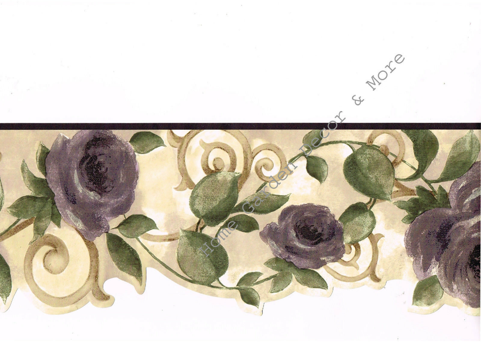 Purple Floral On Gold Scroll Laser Cut Wallpaper Border Sr026122