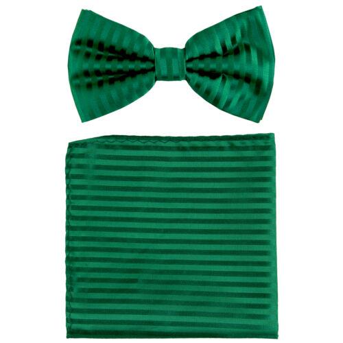 New formal men/'s pre tied Bow tie /& Pocket Square Hankie stripes emerald green
