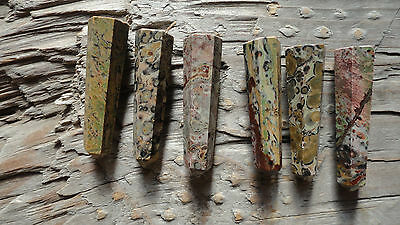 "Point set MM (pkg 6) Leopardskin Jasper Beautiful Point stone set approx 1"" long"