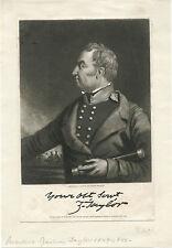 PRESIDENT ZACHARY TAYLOR & ORIGINAL ca 1846 PORTRAIT ENGRAVING BY JOHN SARTAIN