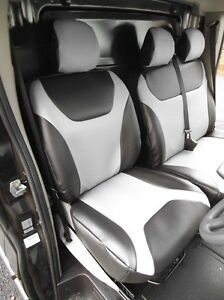 renault trafic 2010 van housse de si ge argent cuir noir sur mesure ebay. Black Bedroom Furniture Sets. Home Design Ideas