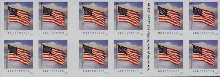2016 47c Patriotic U.S. Flag, Booklet of 20 Scott 5054b