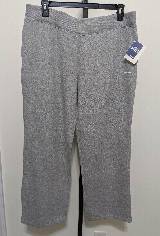 Reebok Women's Fleece Training Sweat Pants Relaxed Fit Straight Leg Gray XL