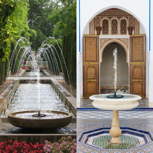 Solar Ed Bird Bath Water Fountain Pumps Free Standing Garden Pool Outdoor