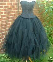 Black Tutu Skirt 16 18 Lined Gothic Gypsy Fairy Ballet Weddings Extra Long 50